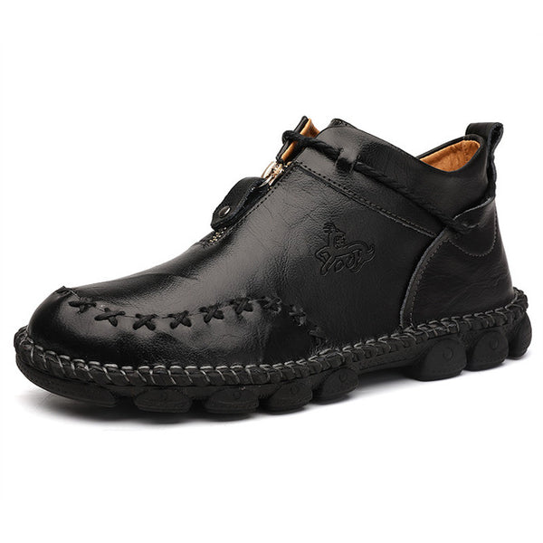 Men's Casual Genuine Leather Comfortable Snow Shoes Ankle Boots