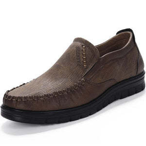 Men's Shoes - Fashion Large Size Leather Slip On Casual Style Flats Soft Shoes
