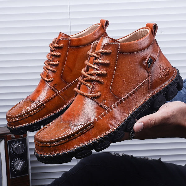 Men's Shoes - Autumn Winter Comfortable Cow Split Leather Men Motorcycle Footwear Ankle Boots