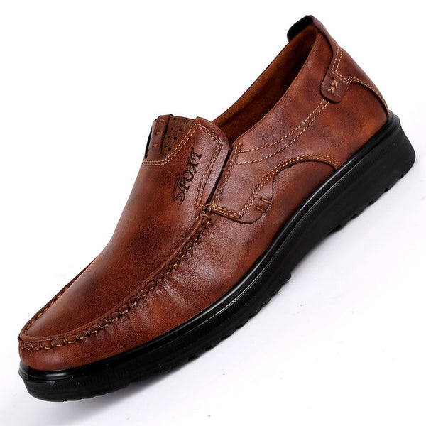Men's Shoes - Fashion Comfortable Leather Slip On Casual Style Flat Shoes