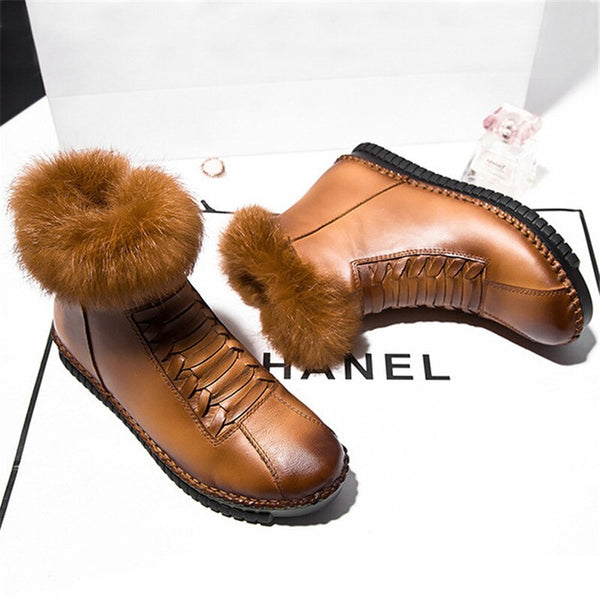 Women's Shoes-New Arrival Genuine Leather Ladies' Casual Waterproof Ankle Boots
