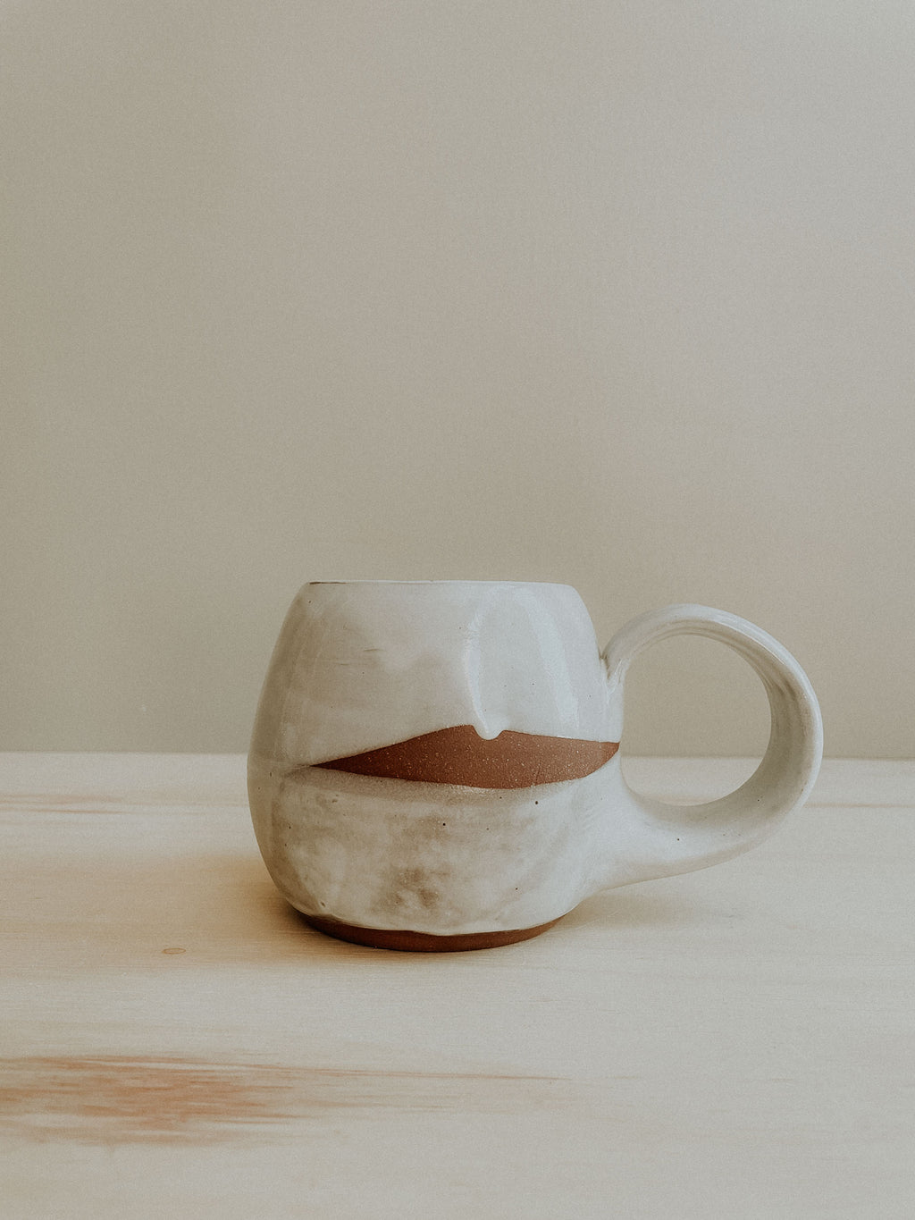 Round Mug - White Gloss x White Matte (round handle)