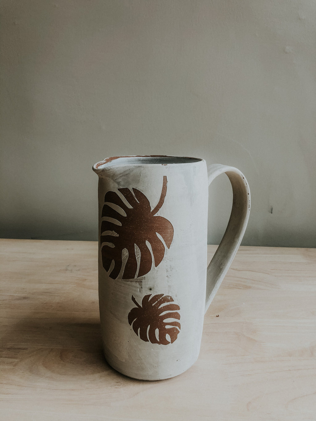 Tall Stenciled Pitcher - Monstera - Seconds