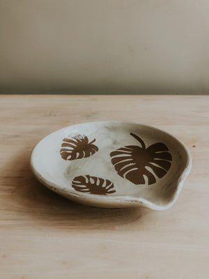 Stenciled Spoon Rest - Monstera