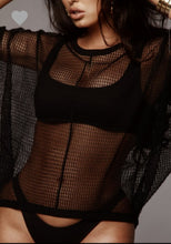Black Net Cover Top