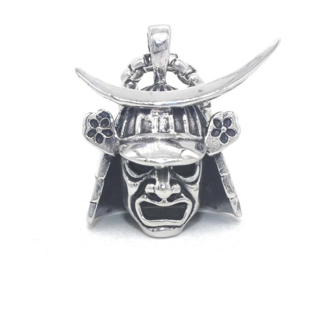 Japanese Samurai Armor Face Mark Stainless Steel Necklace 24inch