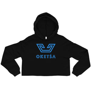 Ndebele Blue Oketsa Logo on Crop Hoodie