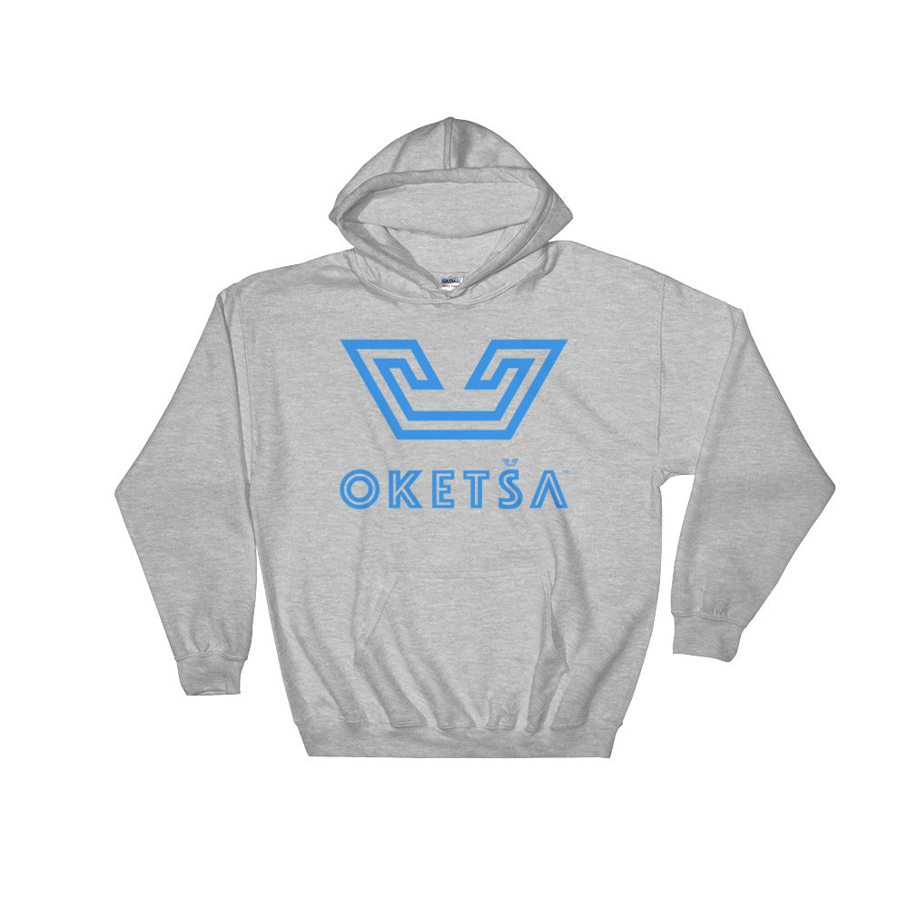 Ndebele Blue Oketsa Logo on Hooded Sweatshirt