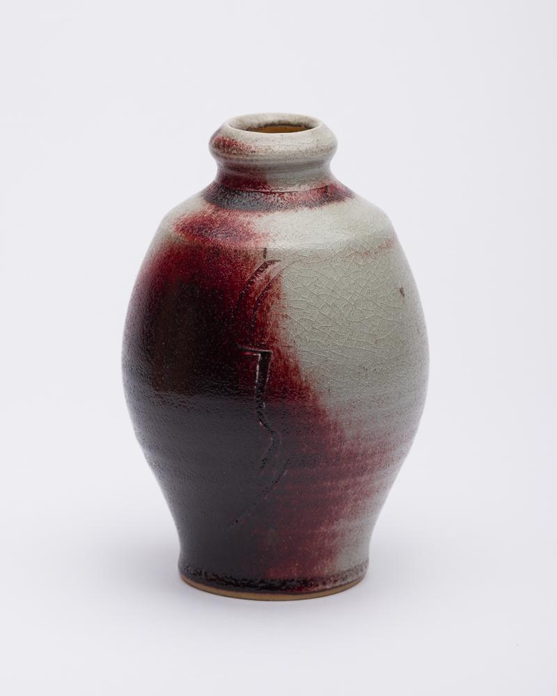 16.5cm - Grey and Red Glazed Vase - Atelier de Corium