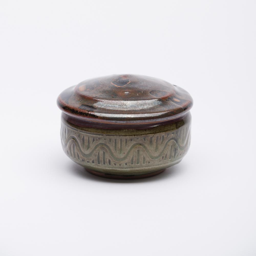6.5cm - Mini Hand Decorated Box - Olive Green - Atelier de Corium