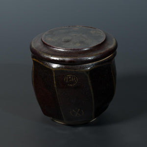 8cm - Tenmoku Hand Decorated Pot - Atelier de Corium