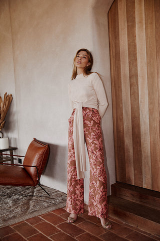 REFLECTION KNIT, PEACH AND SIENNA PANT, CHESTNUT PALM
