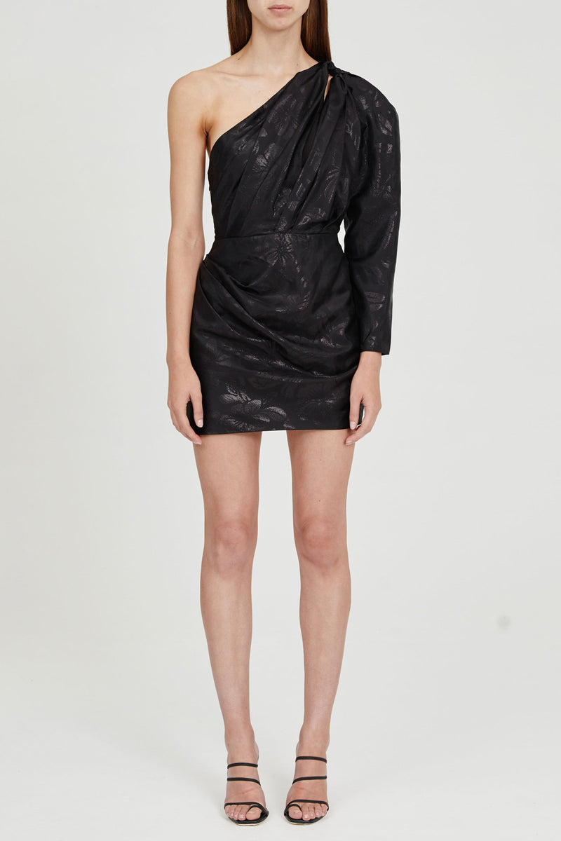 Black Mini Dress with One-shoulder, cut-out Detail and Waist Gathering