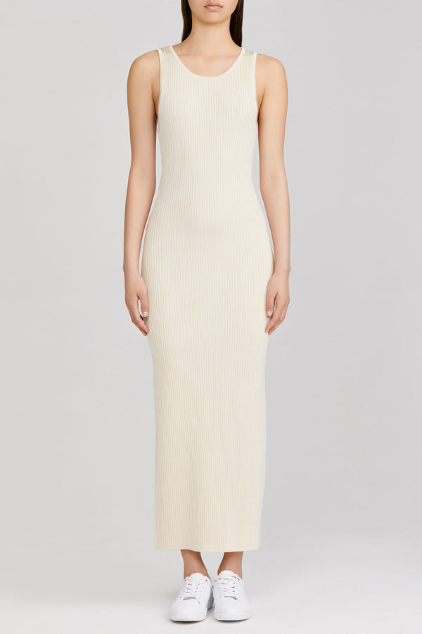 Significant Other full length, cream ribbed dress with open back