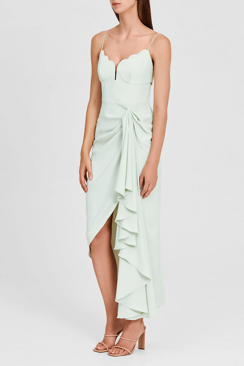 Significant Other Mint Green Midi Dress with Scalloped, Sweetheart Neckline and Asymmetric Hemline - Side View