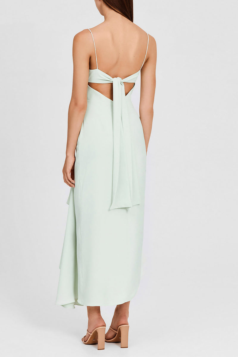 Significant Other Mint Green Midi Dress with Scalloped, Sweetheart Neckline and Asymmetric Hemline - Back Detail