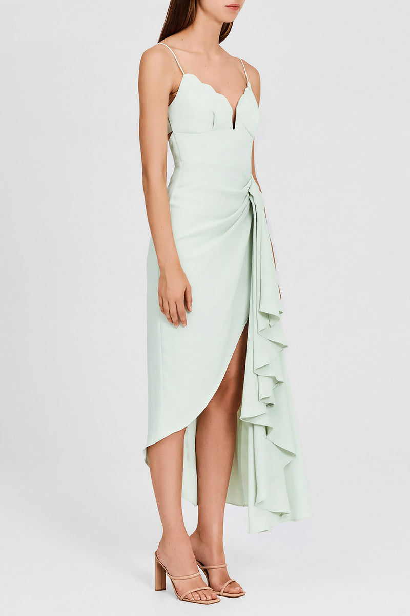 Significant Other Mint Green Midi Dress with Scalloped, Sweetheart Neckline and Asymmetric Hemline