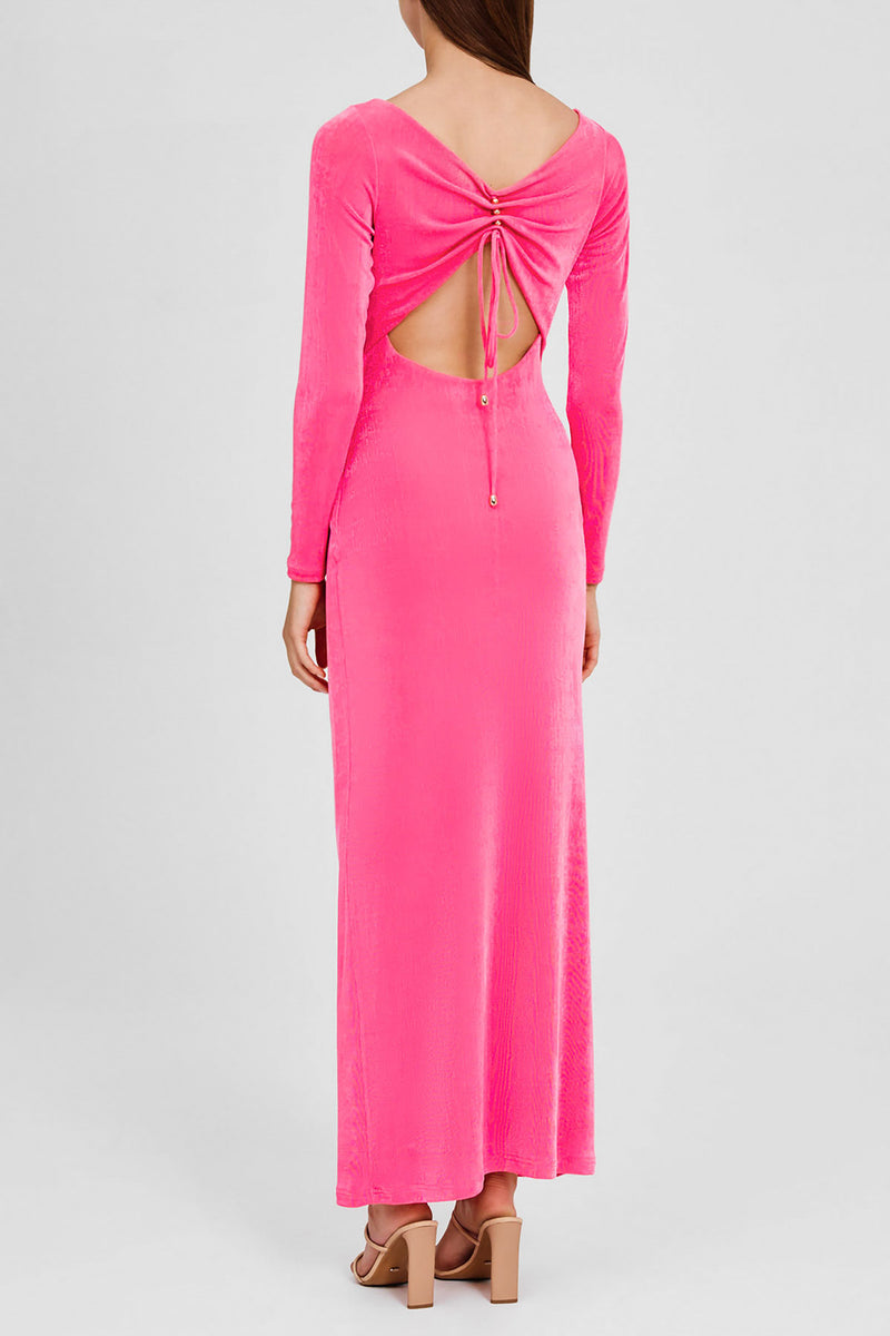 Significant Other Hot Pink, Full Length Dress with Long Sleeves and Boat Neckline - Back Detail