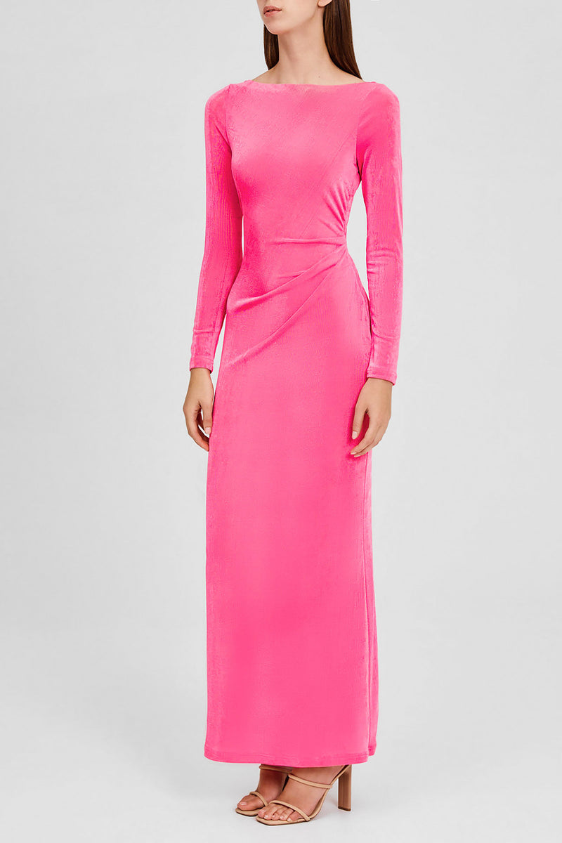 Significant Other Hot Pink, Full Length Dress with Long Sleeves and Boat Neckline