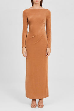 Significant Other Oak Brown Long Sleeved, Full-Length Dress