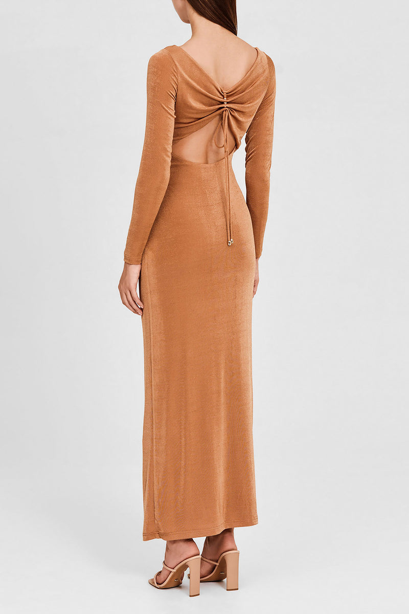 Significant Other Oak Brown Long Sleeved, Full-Length Dress - Back Gathered Detail