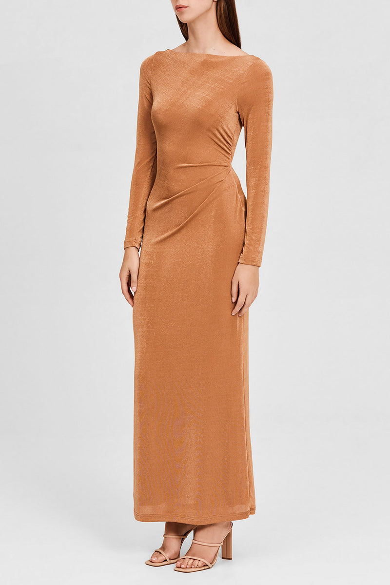 Significant Other Oak Brown Long Sleeved, Full-Length Dress - Side View