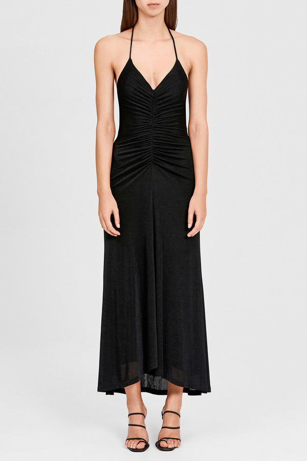 Significant Other Black Full Length Halter Neck Dress with Ruched Detail
