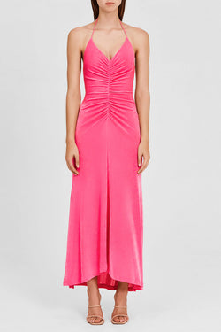 Significant Other Hot Pink, Full Length Dress with Halter Neck and Rouched Detail