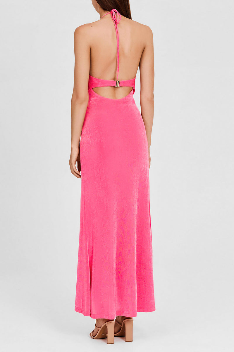 Significant Other Hot Pink, Full Length Dress with Halter Neck and Rouched Detail - Back Detail