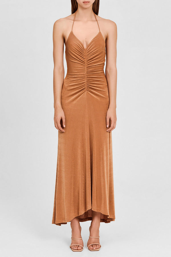 Significant Other Full Length, Halter Neck, Oak Brown Dress with Ruching Detail at Waist