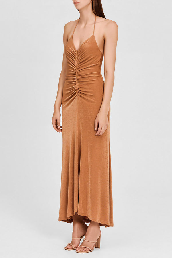 Significant Other Full Length, Halter Neck, Oak Brown Dress with Ruching Detail at Waist - Side View