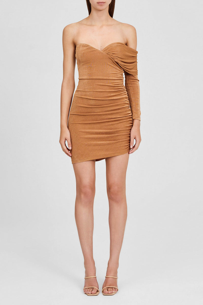 Significant Other Brown Oak, One Sleeved Mini Dress with Sweetheart Neckline