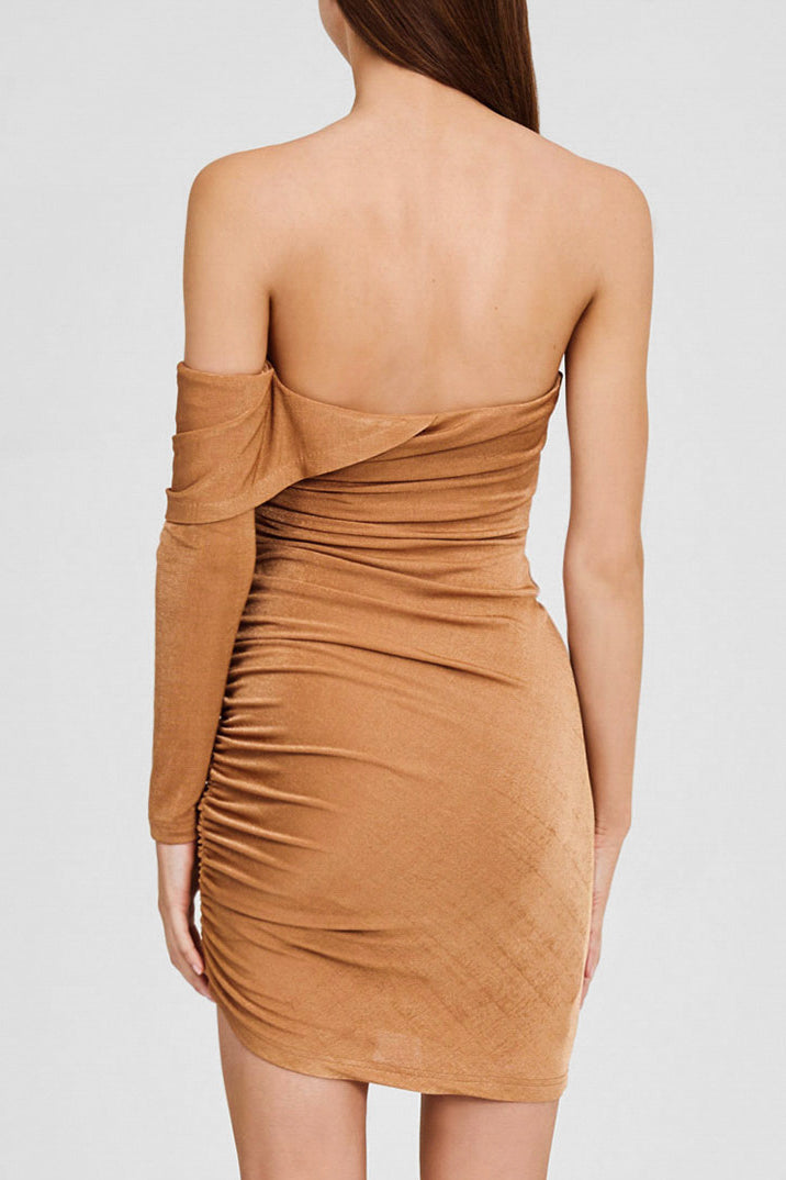 Significant Other Brown Oak, One Sleeved Mini Dress with Sweetheart Neckline - Back Detail
