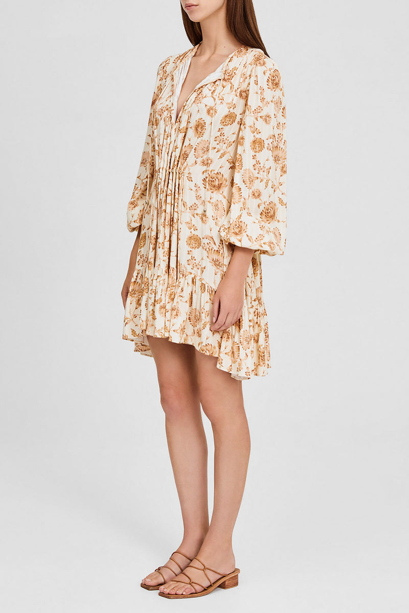 Gathered Mini Dress with 3/4 Sleeves, Gathered Waist Detail and Asymmetric Hemline