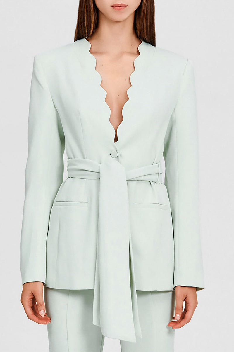 Significant Other Collarless Mint Green Blazer with Scalloped Neckline and Waist Tie Fastening