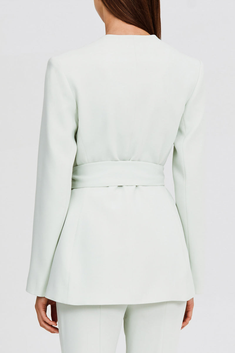 Significant Other Collarless Mint Green Blazer with Scalloped Neckline and Waist Tie Fastening - Back View