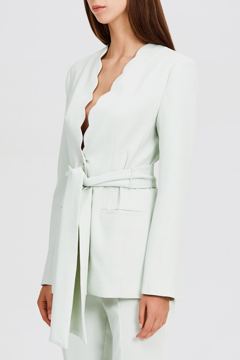 Significant Other Collarless Mint Green Blazer with Scalloped Neckline and Waist Tie Fastening - Side View