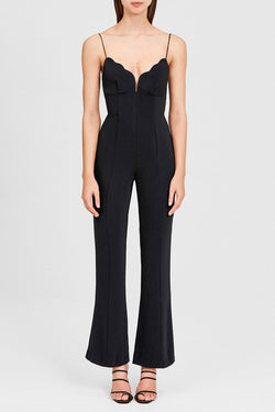 Significant Other Flared Black Pantsuit with Scalloped, Sweetheart Neckline