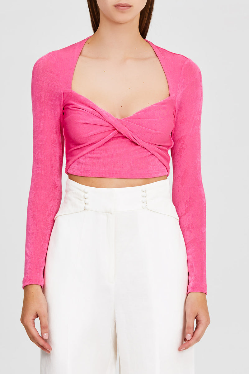Significant Other Hot Pink Cropped Top with Long Sleeves and Sweetheart Neckline
