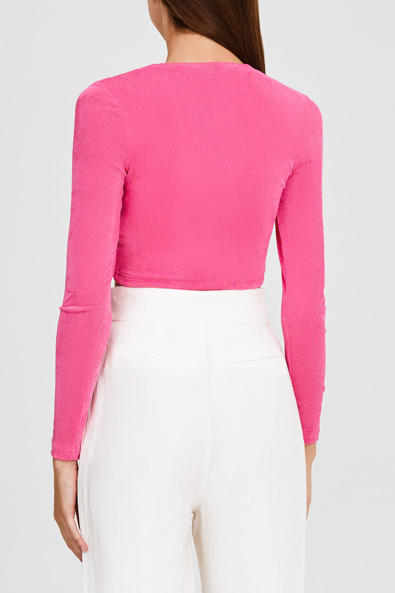 Significant Other Hot Pink Cropped Top with Long Sleeves and Sweetheart Neckline - Back Detail