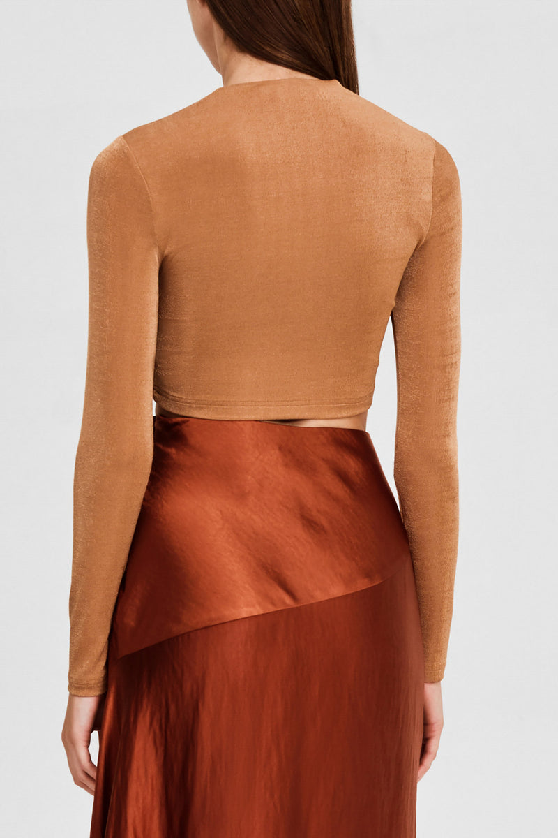 Significant Other Brown Oak, Long Sleeved Cropped Top - Back Detail