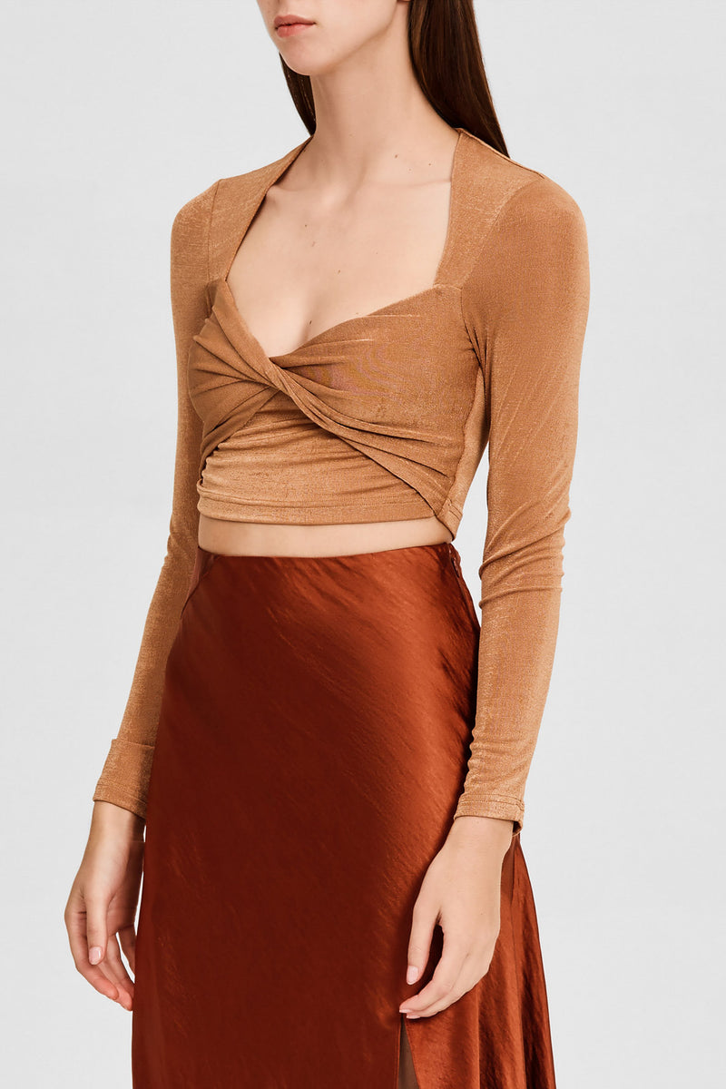 Significant Other Brown Oak, Long Sleeved Cropped Top with Sweetheart Neckline and Twist Detail on Bodice