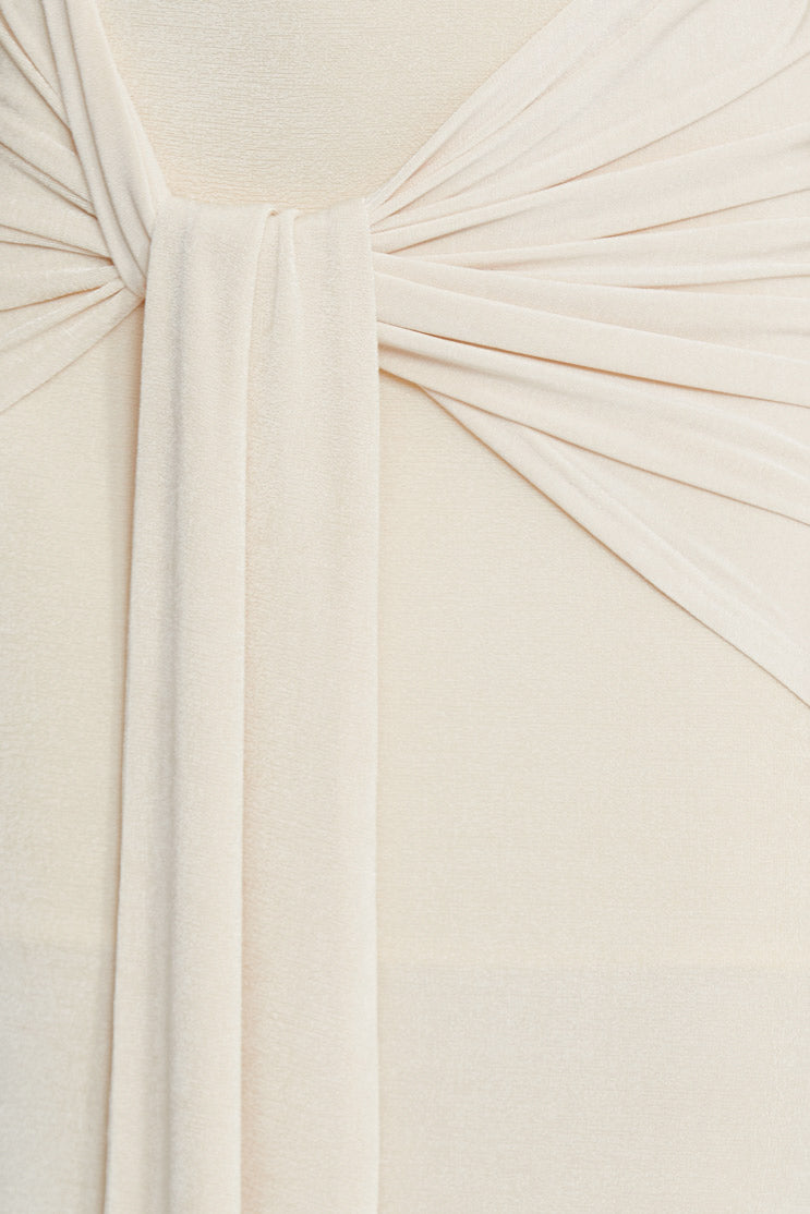 Significant Other Pearl White Midi Skirt - Gathered Tie Detail at Waist