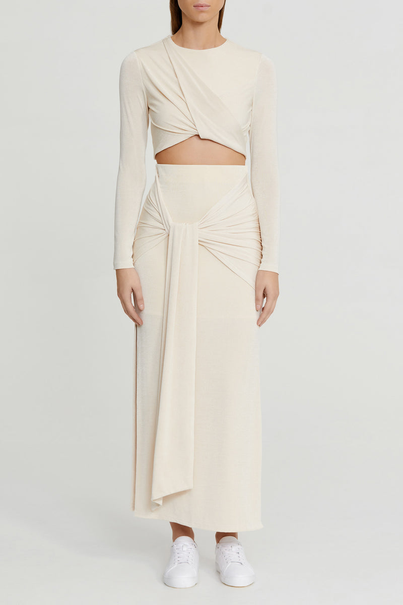 Significant Other Pearl White Midi Skirt with Gathered Tie Detail at Waist and Side Splits in Stretch Fabrication