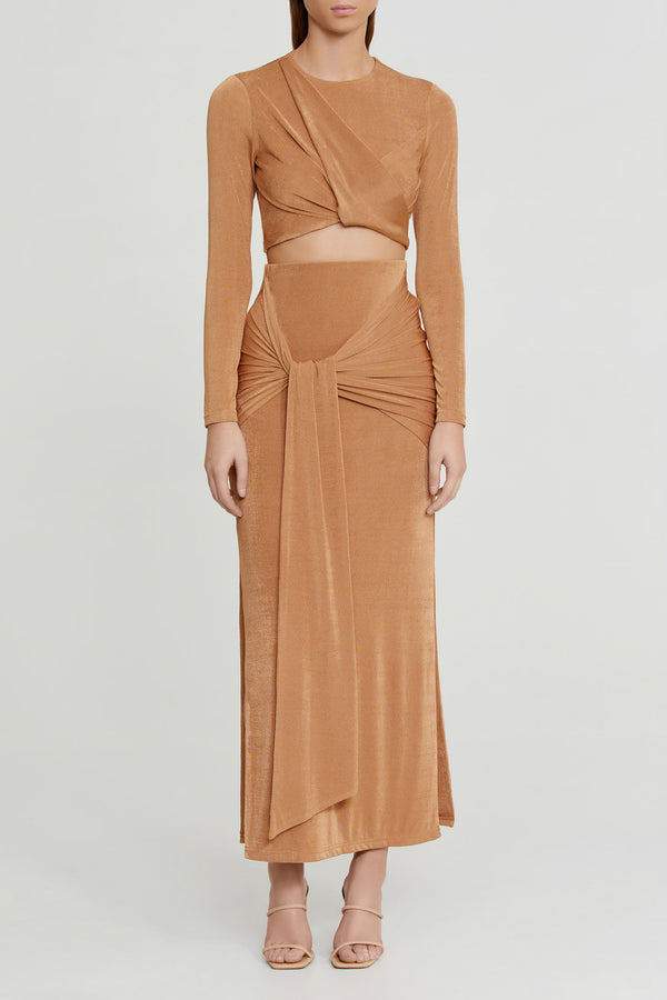 Significant Other Sand Brown Midi Skirt with Gathered Tie Detail at Waist and Side Splits in Stretch Fabrication