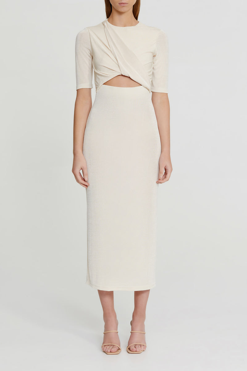 Significant Other Pearl White Midi Dress with Elbow Length Sleeves, Gathering and Twist Detail on Bodice and Cut out Detail at Waist in Stretch Fabrication