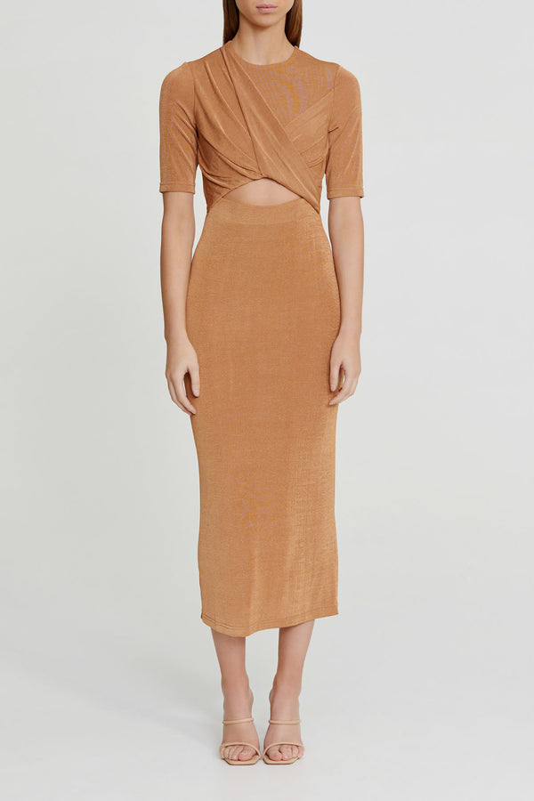 Significant Other Sand Brown Midi Dress with Elbow Length Sleeves, Gathering and Twist Detail on Bodice and Cut out Detail at Waist in Stretch Fabrication