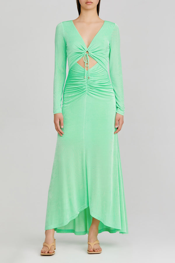 Significant Other green apple, long sleeved maxi dress with v-neckline, feature tie front and gathered detail at the waist