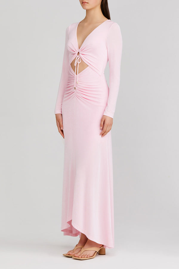Significant Other pastel pink, long sleeved maxi dress with v-neckline, feature tie front and gathered detail at the waist