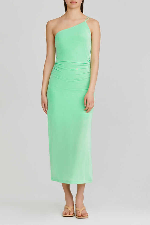 Significant Other green apple midi dress with one shoulder neckline and cross back strap